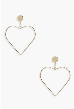 Gold metallic Heart Earrings