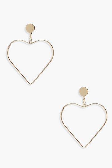 Gold metallic Heart Shaped Earrings