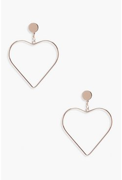 Rose gold metallic Heart Earrings