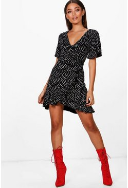 Black Ditsy Heart Tea Dress