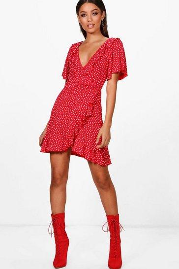 Red Ditsy Heart Tea Dress