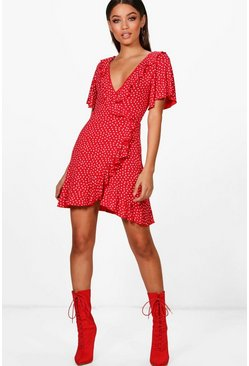 Red Ditsy Heart Tea Dress