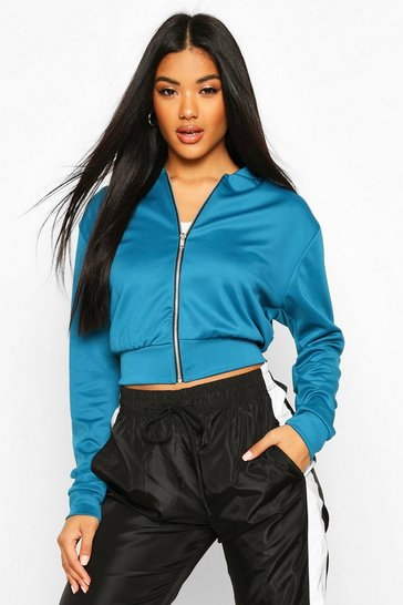Teal green Crop Bomber Jacket