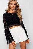 Black Lace Crochet Trim Flare Sleeve Crop Top alternative image