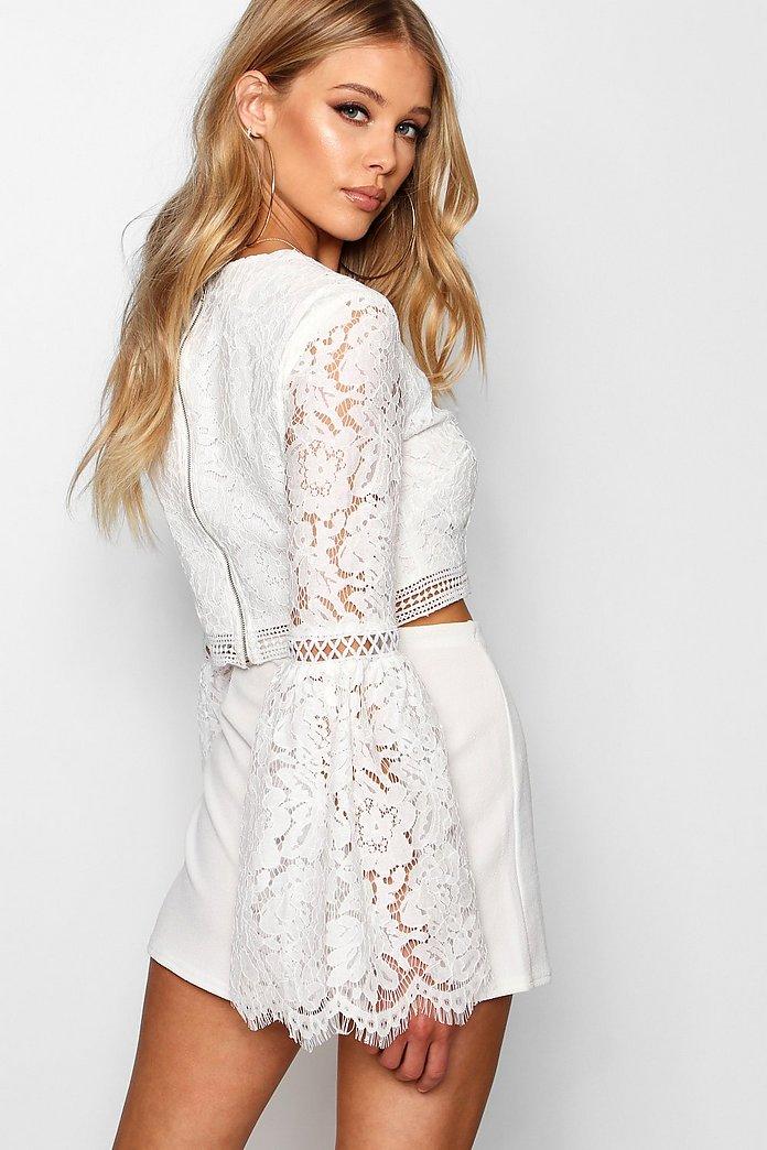 Lace Crochet Trim Flare Sleeve Crop Top