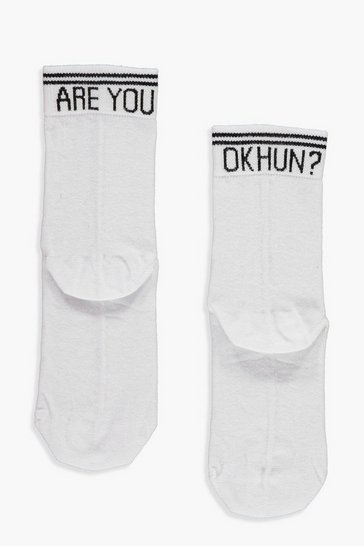 White Are You Ok Hun? Slogan Ankle Socks