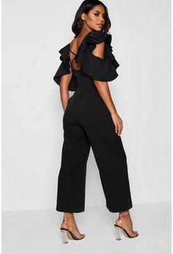 Black Statement Ruffle Cross Back Jumpsuit