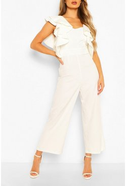 Ivory Statement Ruffle Cross Back Jumpsuit
