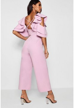 Lilac purple Statement Ruffle Cross Back Jumpsuit