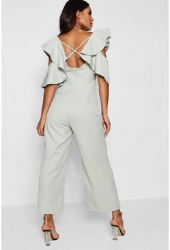 Mint green Statement Ruffle Cross Back Jumpsuit