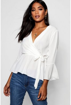 Ivory white Wrap Over Tie Blouse