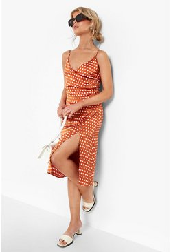 Burnt orange orange Boutique  Satin Polka Dot Wrap Slip Dress