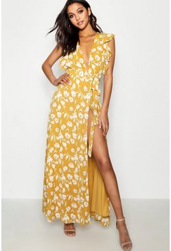Yellow Floral Frill Detail Wrap Maxi Dress