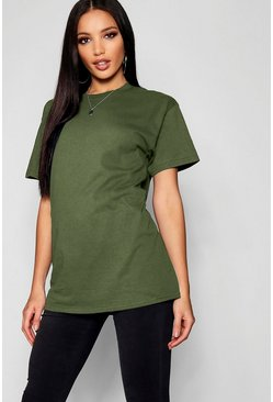Khaki Basic Oversized Boyfriend T-Shirt