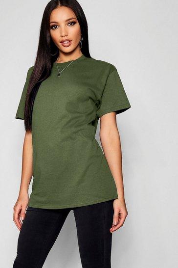 Khaki Green Basic Oversized Boyfriend T-Shirt