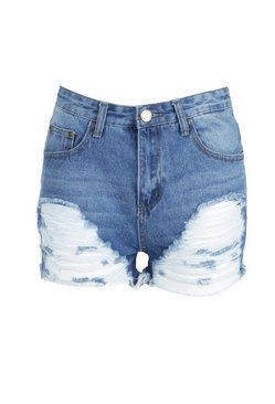 Mid blue Ripped Denim Mom Shorts