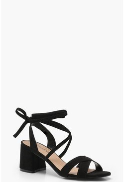 Black Extra Wide Fit Cross Strap Ankle Wrap Heels