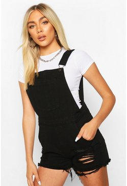 Black Fray Hem Denim Dungaree Shorts
