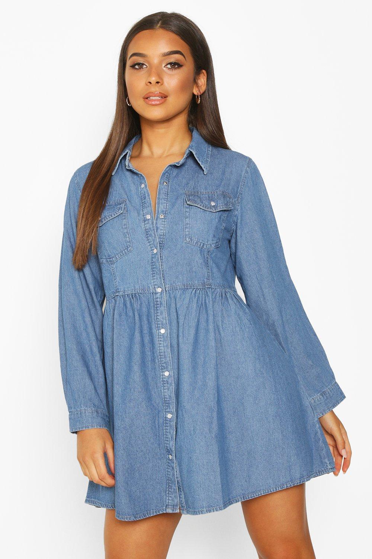 Women's Long Sleeve Denim Shirt Dress | Boohoo UK