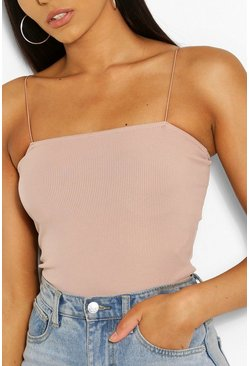 Desert rose pink Basic Rib Skinny Strap Square Neck Body