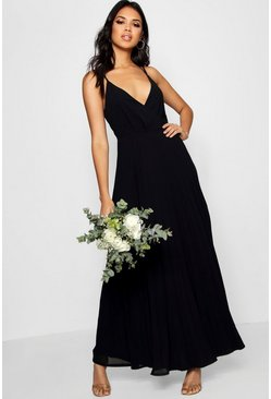 Black Boutique Pleated Maxi Bridesmaid Dress