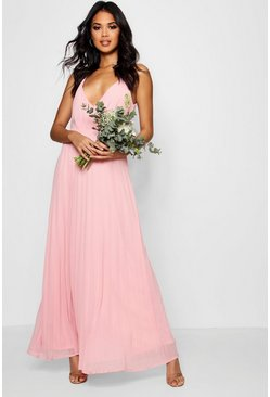 Desert rose pink Boutique Pleated Maxi Bridesmaid Dress