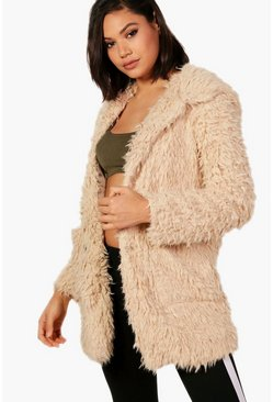 Beige Holly Hooded Shaggy Faux Fur Coat