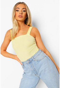 Yellow Basic Rib Square Neck Thick Strap Body