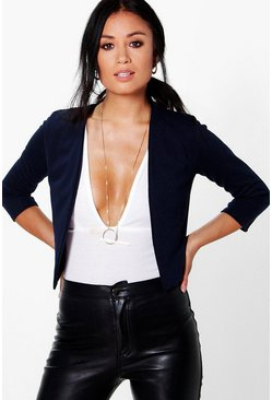 Navy Crop Ponte Edge To Edge Blazer