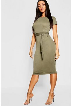 Khaki Pleat Front Belted Tailored Midi Dress
