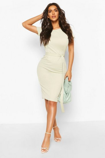 Sage green Pleat Front Belted Tailored Midi Dress