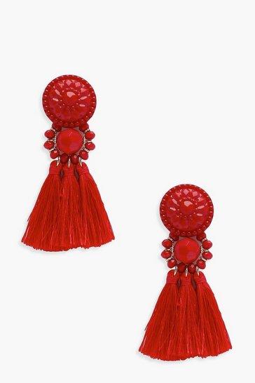Red Floral Tassel Bead Statement Earrings