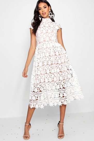 Ivory white Boutique Lace Midi Skater Bridesmaid Dress