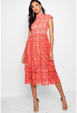 Red Boutique Lace Midi Skater Bridesmaid Dress