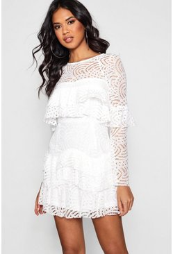 Ivory white Boutique  Lace Ruffle Skater Dress