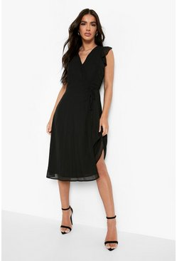 Black Chiffon Ruffle Skater Wrap Bridesmaid Dress