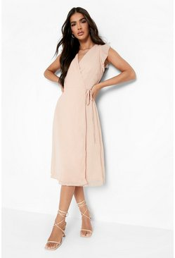 Nude Chiffon Ruffle Skater Wrap Bridesmaid Dress