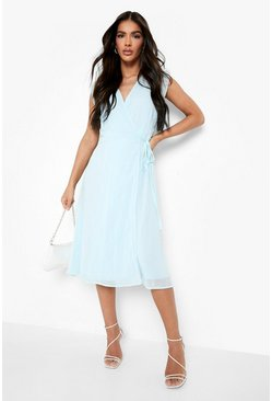 Sky blue Chiffon Ruffle Skater Wrap Bridesmaid Dress
