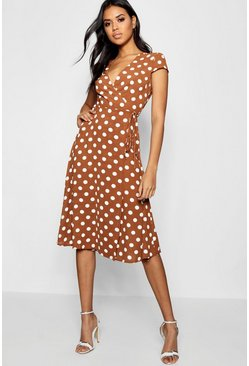 Terracotta orange Boutique Polka Dot Wrap Dress