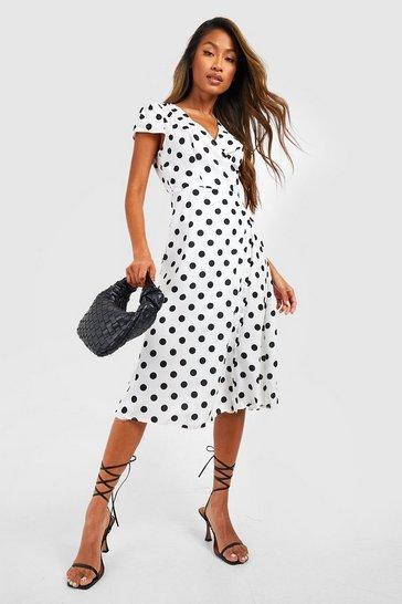 White Boutique Polka Dot Wrap Dress