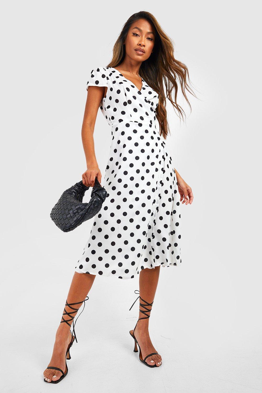 Boutique Polka Dot Wrap Dress | Boohoo UK