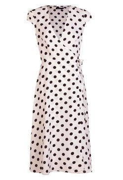 White Boutique Polka Dot Wrap Dress