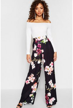 Black High Waist Floral Wide Leg Trouser