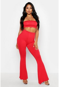 Red Basic Bandeau And Flared Pants Co-Ord Set