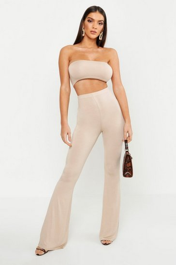 Stone beige Basic Bandeau and Flared Trouser Co-ord Set