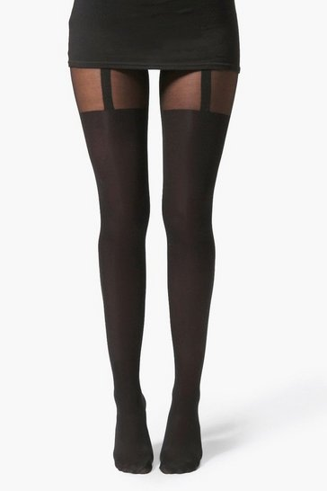 Black Mock Suspender Tights
