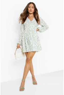 Ivory white Ruched Waist Floral Tea Dress