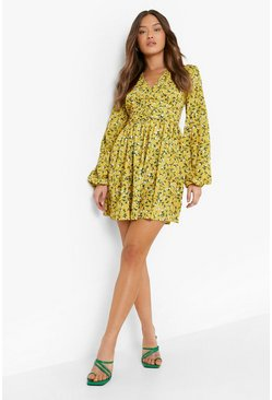Mustard yellow Ruched Waist Floral Tea Dress