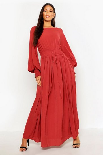 Brick orange Shirred Waist & Cuff Woven Maxi Dress