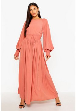 Rose pink Shirred Waist & Cuff Woven Maxi Dress